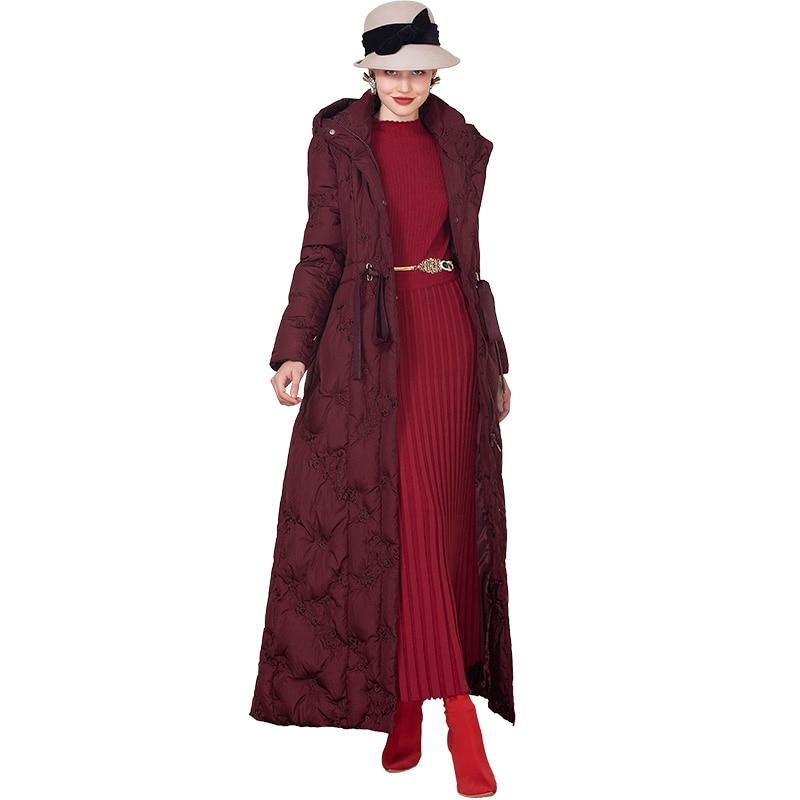 Parkas de mujer para invierno, abrigo largo de algodón espacial con cremallera, bordado de flores, largo completo, cuello con gorro, abrigo largo de X, talla grande DZ2226