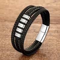 2021 new trendy rope chain men bracelet classic stainless steel accessories genuine leather bracelet for men women jewelry gift
