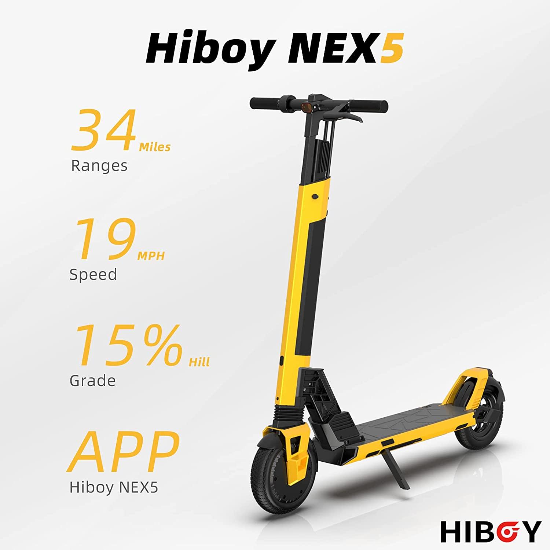 سكوتر كهربائي Hiboy NEX5 350 واط 8.5 بوصة إطارات صلبة 34 ميل طويلة المدى 19 ميلا في الساعة قوية قابلة للطي سكوتر كهربائي s للبالغين