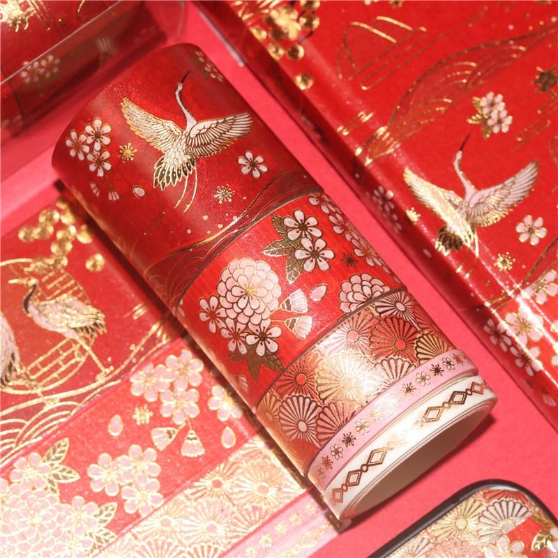 5Rolls/Set Crane Foil Washi Tape Set Paper Festival DIY Scrapbooking Adhesive Masking Tape Decorative Sticky Washi Tape