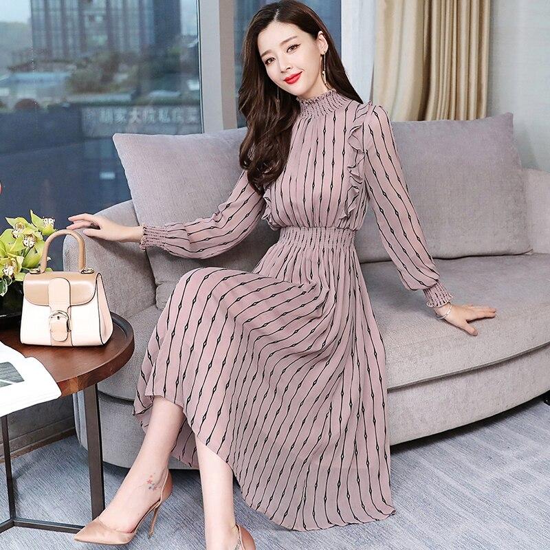 2020 Vintage de gasa a rayas de manga larga Vestidos Midi Otoño Invierno de talla grande vestido de mujer ajustado elegante Vestidos de fiesta femenino