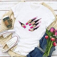 Maglietta estiva da donna con stampa a manica corta con stampa a manica corta grafica divertente da donna maglietta femminile da donna