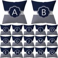 1pcs alphabet letter striped decorative cushion cover polyester throw pillowcase 4545cm sofa home decorative pillowcover 41017