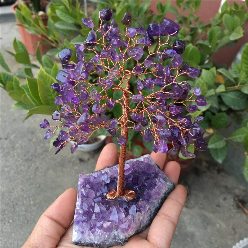 Natural Dream Amethyst Quartz Crystal Cluster Specimen  Lucky tree Healing Christmas decorator 13-15cm