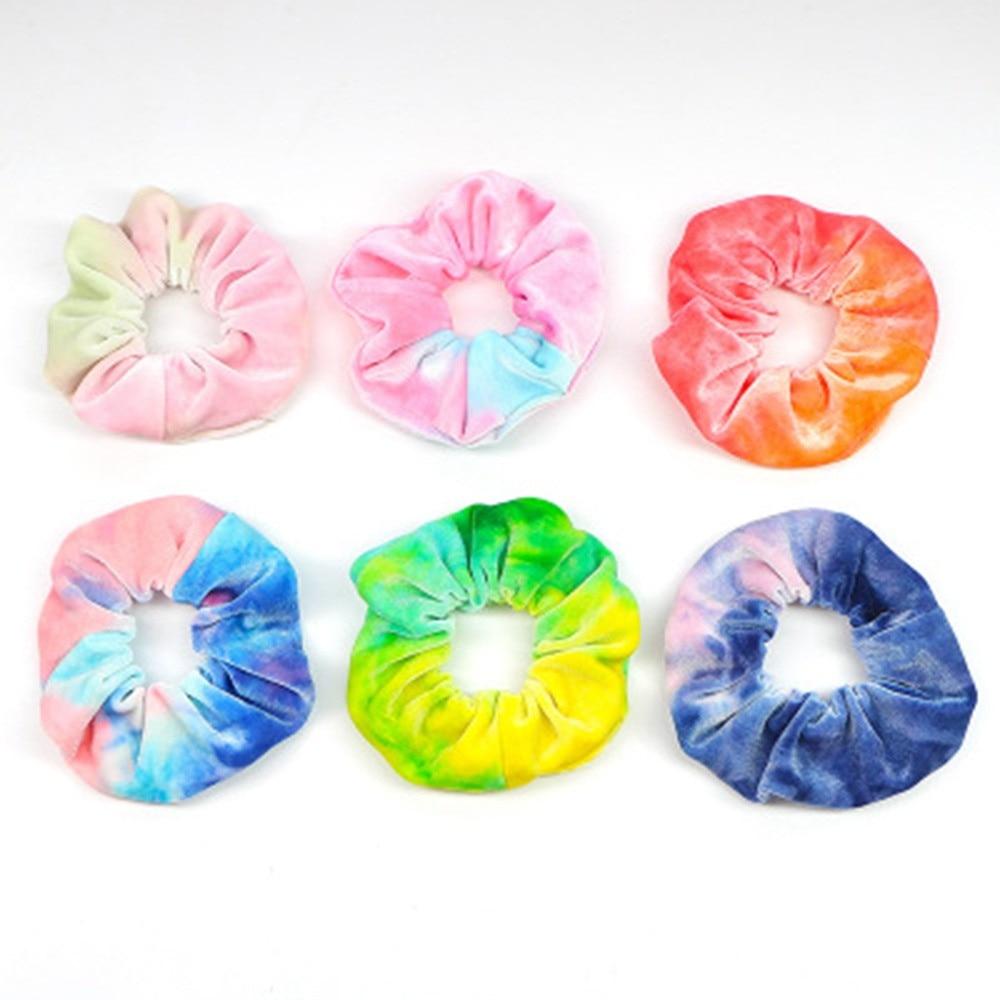 Elástico de arco-íris para cabelo, 1 peça de tira para cabelo com dois tons, acessórios para mulheres, cor degradê scrunchie