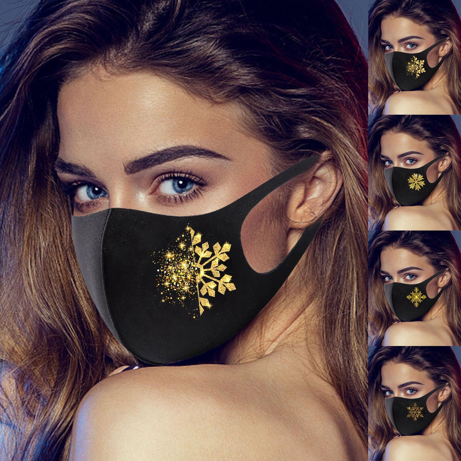 Mascarilla feliz ano novo máscaras de boca de neve para máscara anti-facial lavável máscara de boca reutilizável tampões de boca de earloop lavável