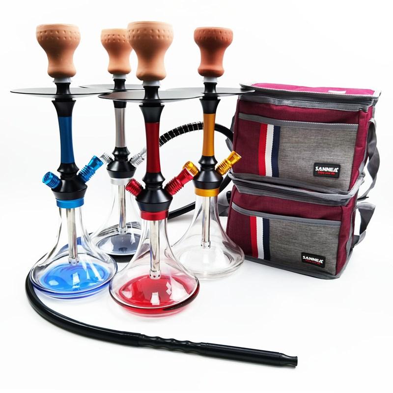 Multi-Color Arab Aluminum Alloy Shisha Hookah with Travel Bag Chicha Sheesha Nargile Cachimbas Water Smoking Set enlarge