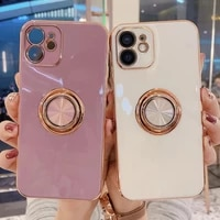 soft plating ring holder phone case for iphone 12 11 pro max 12mini xs max xr x 7 8 plus se 2 12pro 13 11 shockproof stand cover