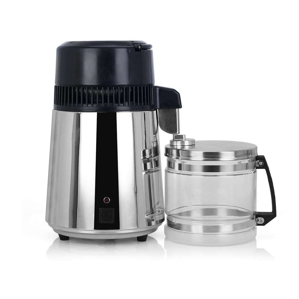 Destilador de filtro de agua pura para el hogar 4L, destilación de agua destilada, filtro purificador, botella de vidrio de acero inoxidable