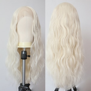 Blonde 60# Synthetic Lace Front Wig Long Wavy Synthetic Wigs for Women Heat Resistant Fiber Hair High Density Glueless Lace Wigs