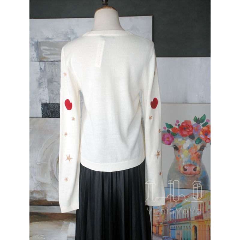 YUNINYOYO Lovly embroidery with heart sunglasses red lips dolls heavy  hand-made beads star snowflakes 100% wool women cardigan enlarge