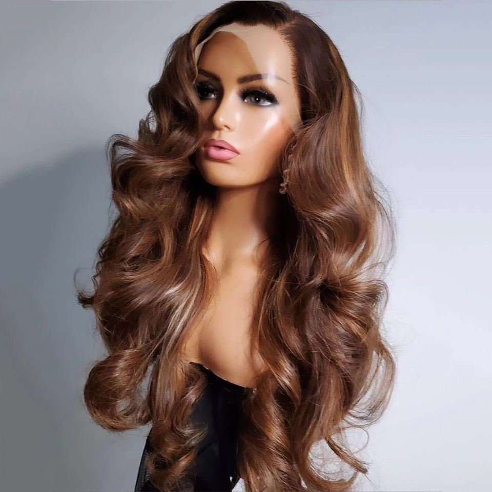 Mongolia Ombre Strawberry Blonde Wavy Full Lace Human Hair Wigs With Preplucked 13x6 Lace Front Glueless Silk Top 360 Frontal
