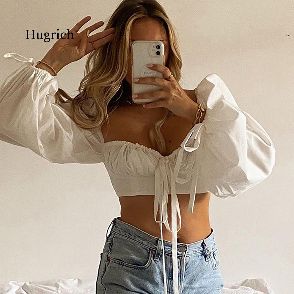 White Balloon Sleeve Elegant Women Top and Blouse Shirts Autumn 2021 Sexy Backless Crop Tops Solid Fashion Blusas