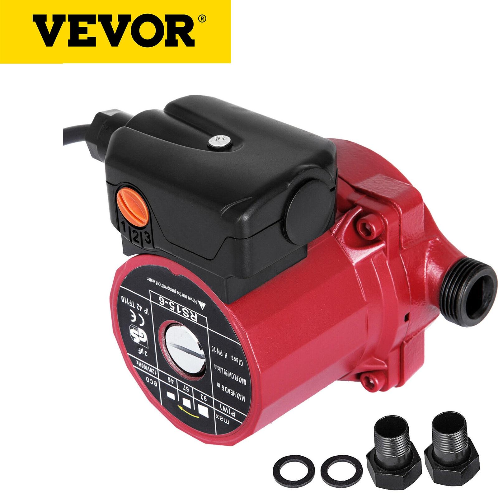VEVOR RS15-6 مضخة إعادة تدوير الماء الساخن 110 فولت مضخة توزيع 3/4 بوصة NPT 3-speed 9.5 Gpm سخان مياه إعادة مضخة توزيع