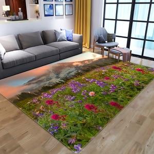 Creative 3D Print Floor Mat Garden Flower Landscape Hallway Carpet and Rug Bedroom Living Room Kitchen Bathroom Anti-Slip Carpet