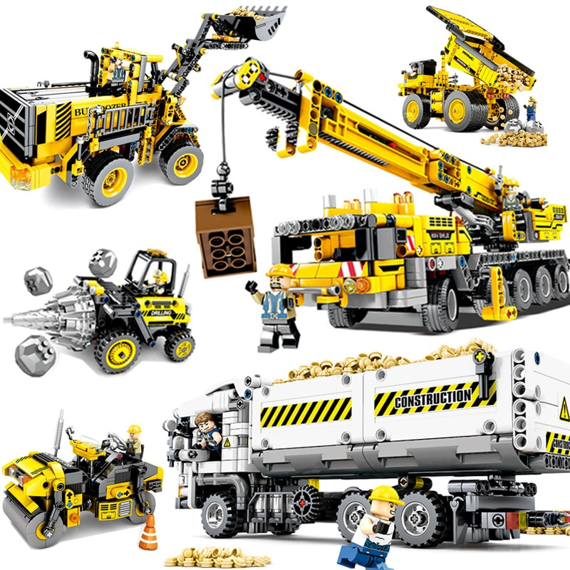 Grúa de ingeniería Bulldozer, Compatible con Lepining, camión de bloques de construcción técnica, vehículo de construcción urbana, coche de juguete para niños
