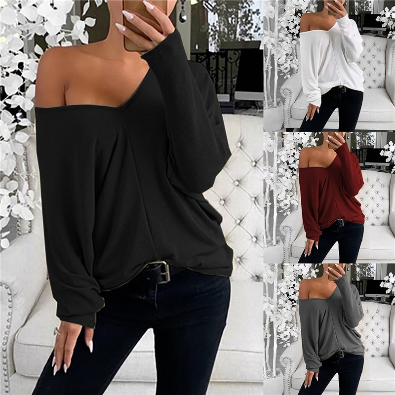 2020 Newest Hot Fashion Women`s Sexy Off Shoulder Long Sleeve T-Shirt Casual Ladies Loose Solid Daily Wear