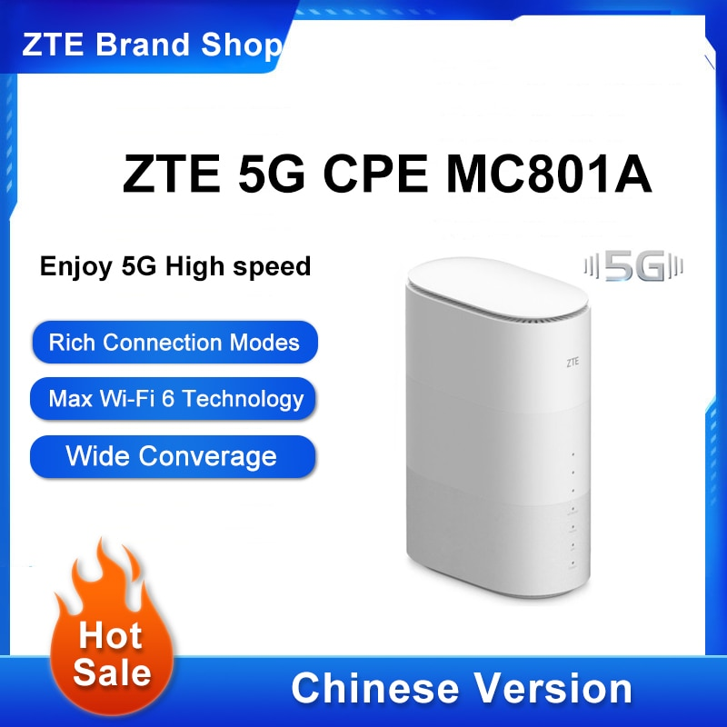 النسخة الصينية ZTE 5G CPE MC801A واي فاي 6 راوتر 5G NR + LTE EN-D Sub6G: n77/78/79/41 4G FDD: n1/3/5/8/28TDD: b34/39/40/41 3G/4G