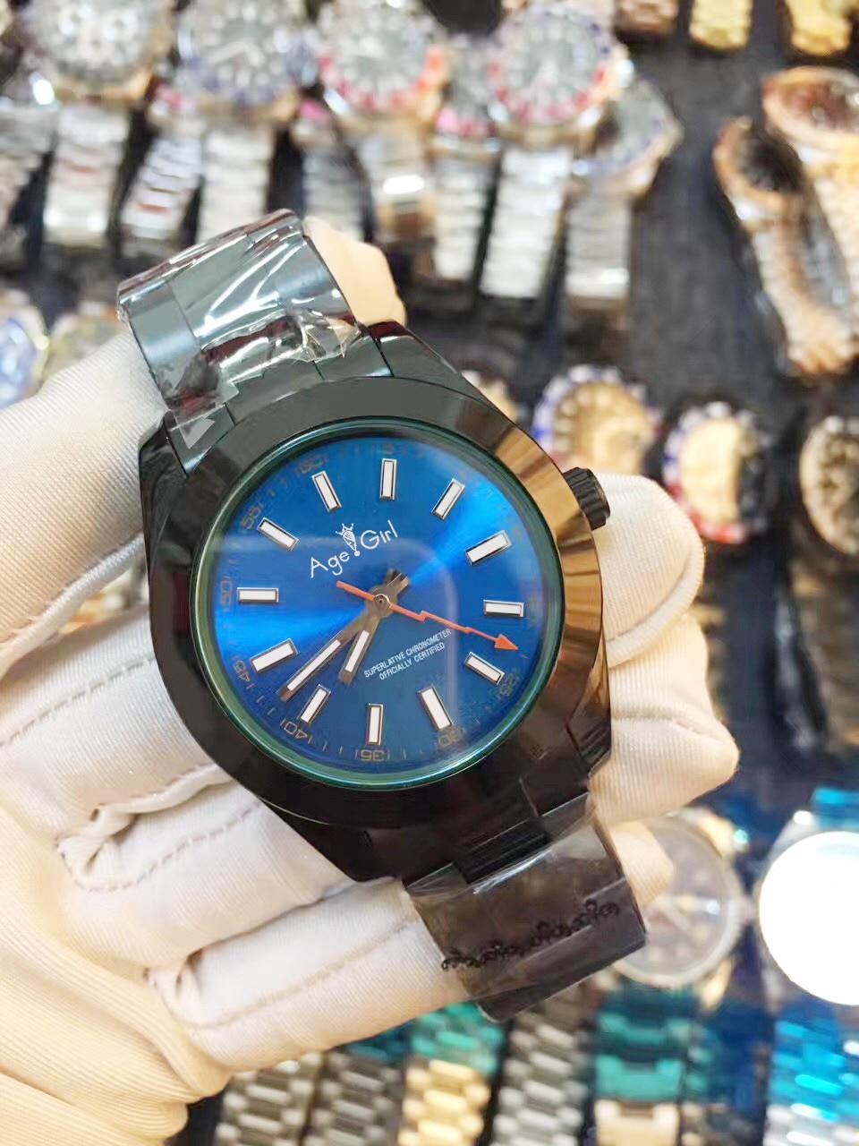 Novo luxo masculino automático mecânico relógios aço inoxidável completo preto prata azul data relógio masculino 41mm aaa +