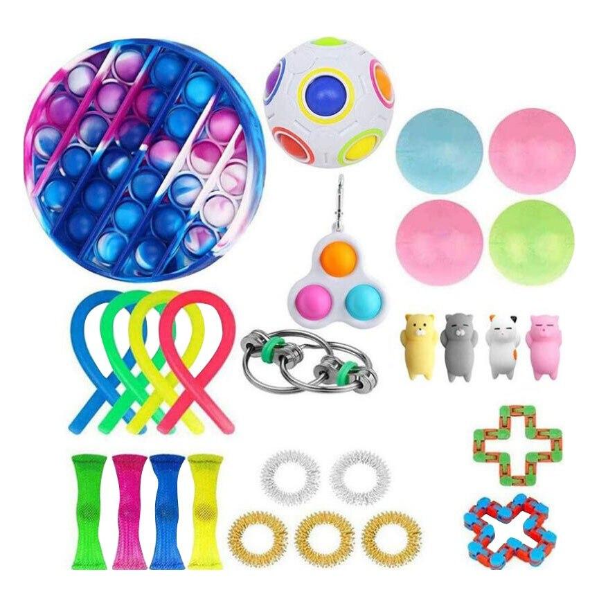 22pc/26pc Creative Adults Fidget Toy Set Cheap Sensory Fidget Toys Pack Children Squishy Sensory Antistress Relief Figet Toys enlarge