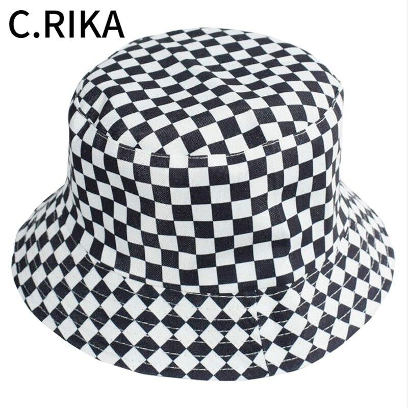 2020 verão preto branco xadrez balde chapéu feminino moda algodão chapéus de sol reversível bob chapeau femme panamá chapéu pescador