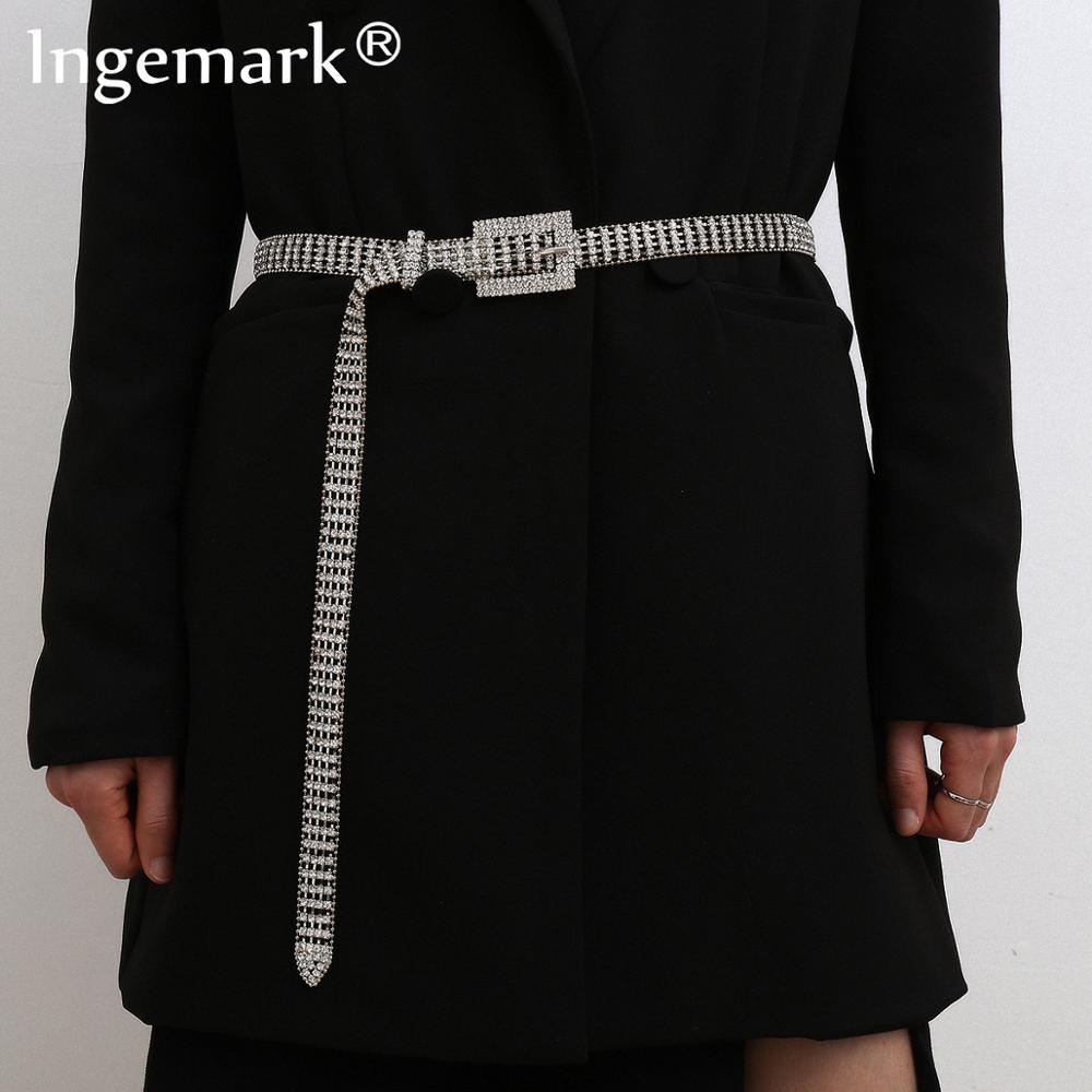 Fashion Full Rhinestone Belly Waist Chain Dress Accessories Luxury Gypsy Crystal Shiny Silver Color Belt Body Jewelry for Women