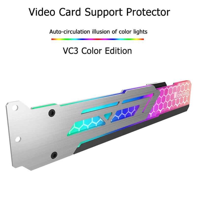 Jonsbo V3 3 Pin DC12V RGB tarjeta gráfica soporte marco colorido cambio automático LED Universal tarjeta de vídeo soporte Newst