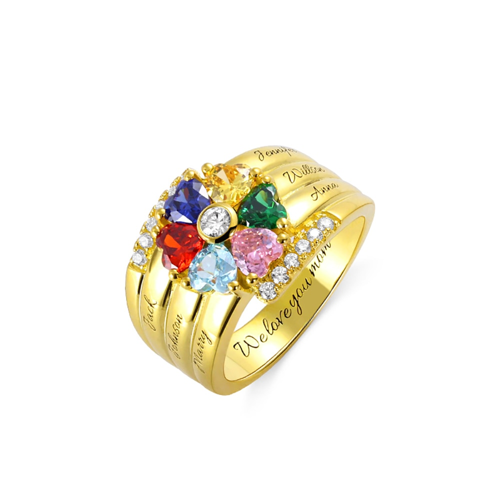 Uonney دروبشيبينغ شخصية محفورة 6 على شكل قلب جوهرة خاتم هدية عيد الحب لبلدها الفضة وردة ذهبية الذهب
