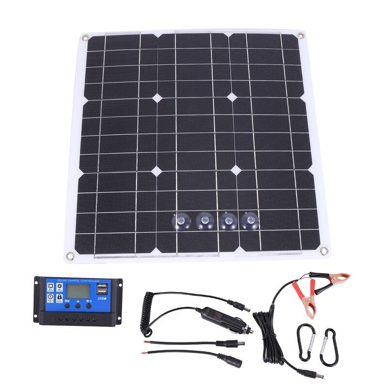 مجموعة الألواح الشمسية 200 واط ، 200 واط ، مع وحدة تحكم LCD ، 12 فولت ، RV ، قارب ، خارج الشبكة