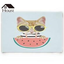 Lindo gato con alfombras de baño de sandía animales de dibujos animados antideslizantes alfombra de puerta alfombra de baño accesorios
