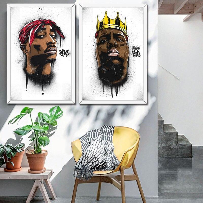 El infame B.I.G Biggie Smalls 2PAC Tupac Shakur Hip Hop Gangsta Rap Música arte pintura cartel pared hogar Decoración alto decoración Para el hogar de calidad para habitación de niños sin marco o415
