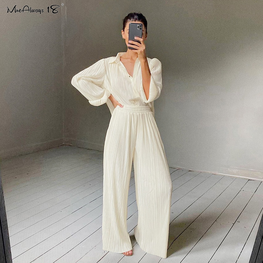 Mnealways18 Beige Pleated Wide Leg Pants Womens Pants Fashion 2021 Casual Loose Trousers Office Lady Elegant Long Palazzo Pants