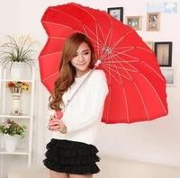 red heart shape umbrella romantic parasol long handled umbrella for wedding photo props umbrella valentines day gift wholesale