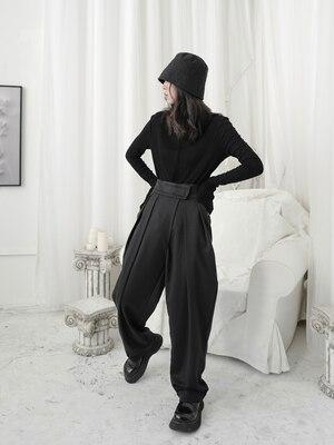 Yamamoto-بنطلون طويل للتنحيف ، بنطلون طويل غير رسمي ، أرجل واسعة ، تصميم غامق ، مقاس كبير