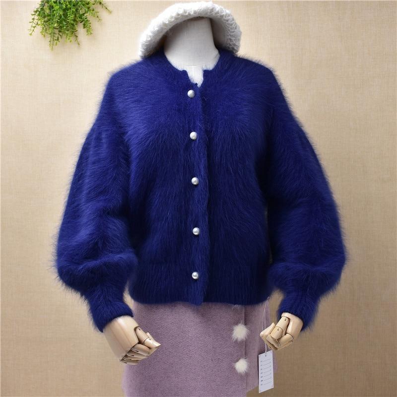 B209 señoras mujeres de moda peludo mullido visón Punto de Cachemira mangas largas de linterna lazy oaf cardigan botón abrigo de piel de visón suéter