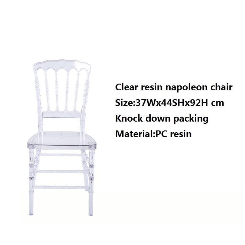 كرسي زفاف من الكريستال الشفاف من نابليون ، كرسي شيافاري من الراتنج