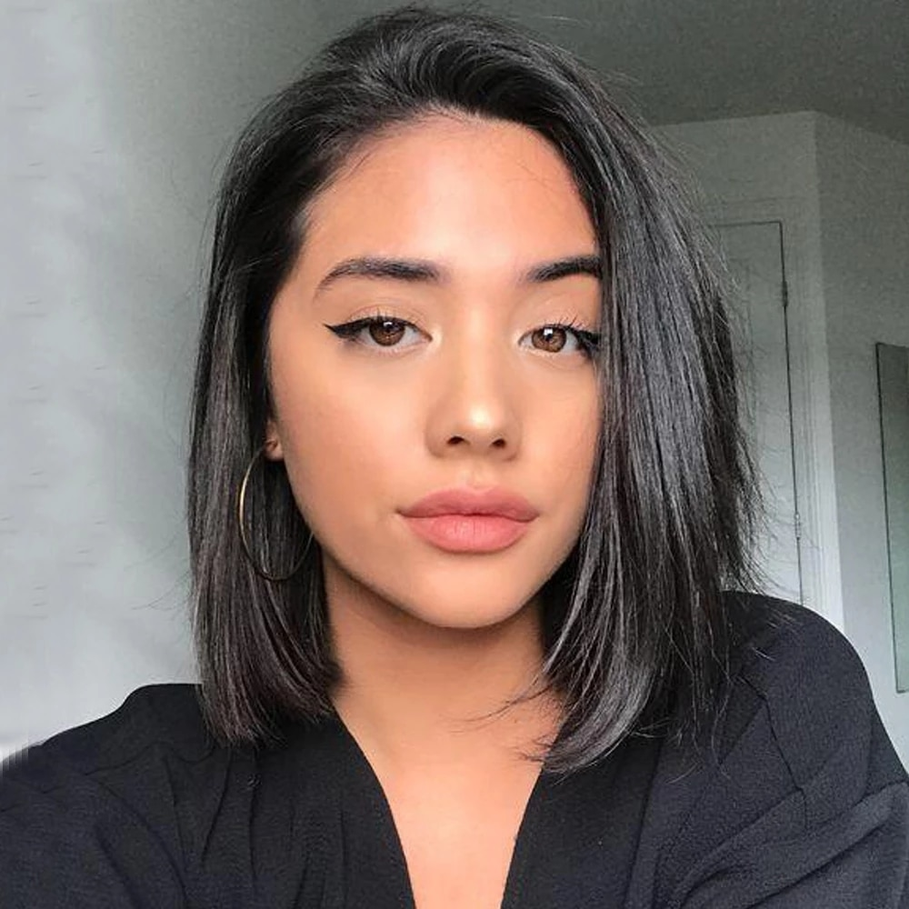 Short Human Hair Wigs Bone Straight Bob Lace Wig With Baby Hair 11x2 Inch Lace #2 #4 Brown Brazilian Wig For Black Women