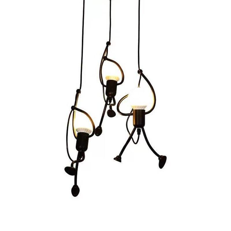 الإبداعية الرجل الصغير قلادة أضواء بسيطة الأسود مصباح معلق غرفة الأطفال سقف ديكور الحديثة المطبخ بار تركيبات الإضاءة