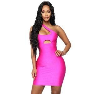 New 2021 Women Summer Sexy One Shoulder Key Hole Mini Hot Pink Bodycon Bandage Dress Elegant Celebrity Evening  Party Dress