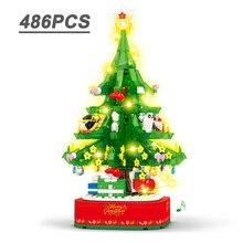 486pcs Creator Expert Series Christmas Tree Music Box Building Blocks Can Rotate Crystal Music Box B