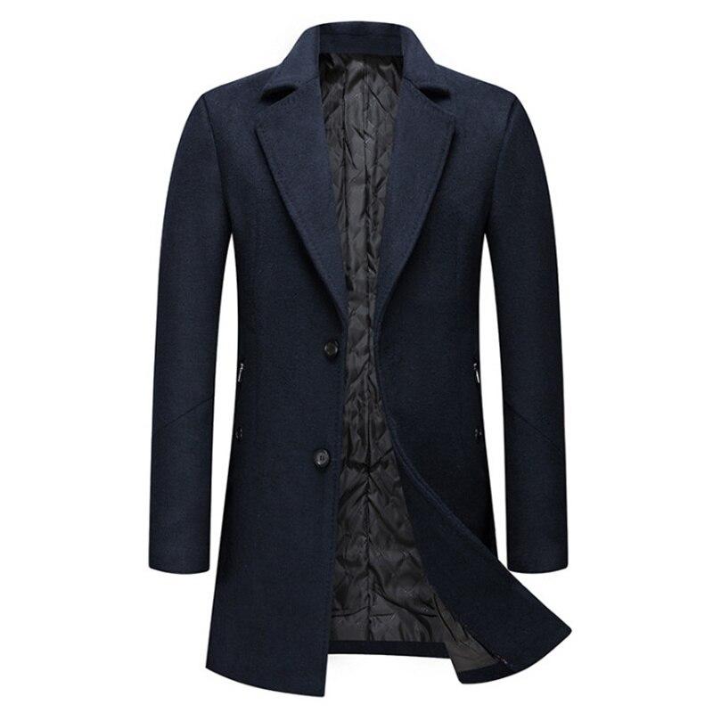 معطف شتوي طويل ذو جودة عالية معطف رجالي عصري من الصوف معطف بلون سادة معطف من الصوف معطف سميك