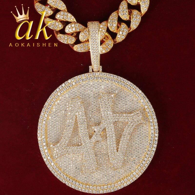 Custom Name Big Medal Pendants Men's Necklaces Rock Street Style