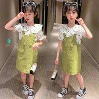 2020 summer girls clothes set fashion kids dot short sleeve shirt topsstrap dress 2pcs children clothing sets 4 6 8 10 12 years