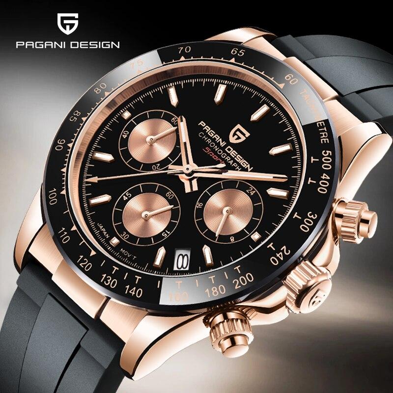 PAGANI DESIGN New men quartz watch top brand luxury gold watch Japan VK63 movement sapphire glass wristwatches relogio masculino