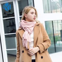 M MISM 2020 Autumn Winter New Solid Cashmere Gloves For Women Girls Tassel Scarves Shawl Female Ladies Head Scarf Sholder Wrap