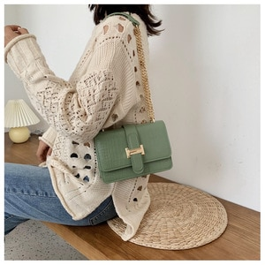 Luxury Crocodile Patterned Women Chain Shoulder Bag Female PU Leather Crossbody Bags Small Messenger Bag Fashion Lady Purse Bags