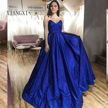 Royal Blue Evening Dress Satin A-Line Sweetheart Evening Dresses Long Formal Party Gowns robe de soiree vestido de festa longo 2