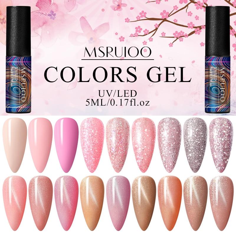 MSRUIOO Rose Gold Shining Platinum UV Nail Gel Pink Cat Eye Gel Polish Varnish Semi Permanent Hybrid Nail Enamel UV Led Polish