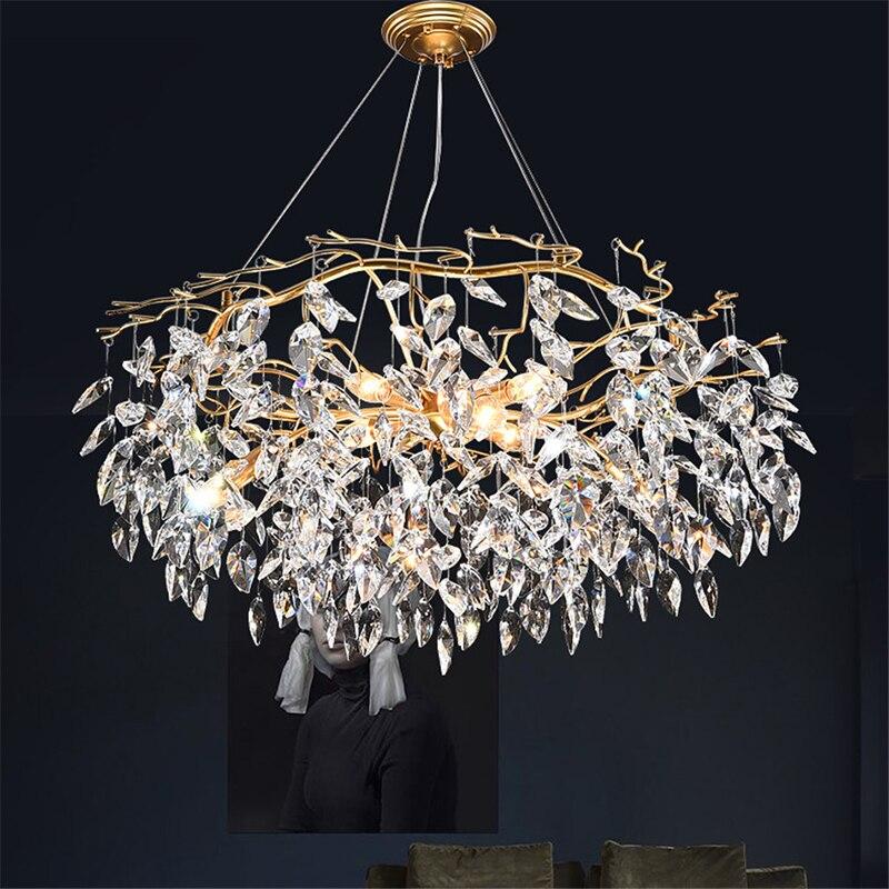Modern Luxury Gold Crystal Chandelier Lighting Led Chandeliers Light Fixture for Living Room Hotel Hall Art Decor Hanging Lamp