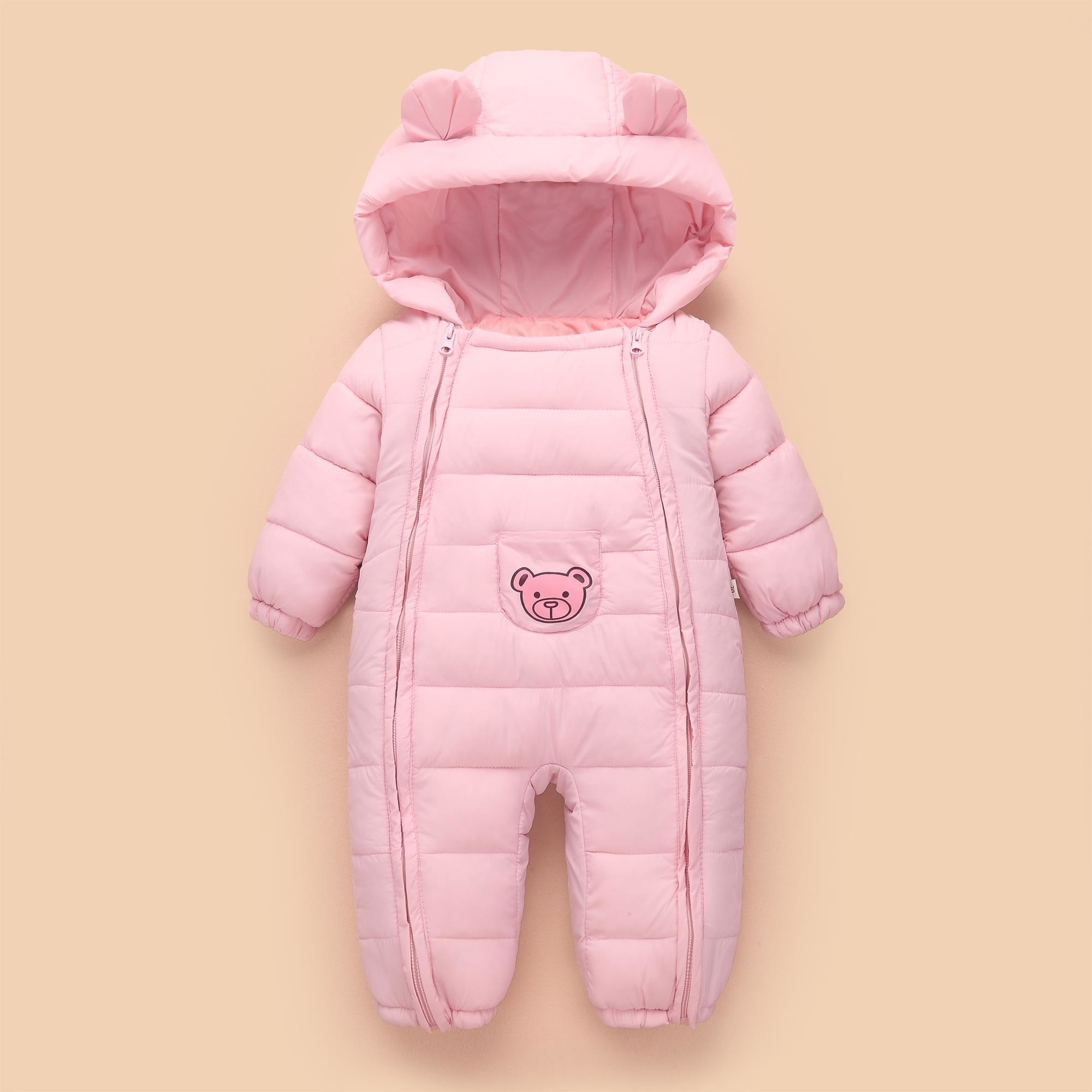 Baby Boys Jumpsuits Newborn Jumpsuits Baby Jumpsuits Cartoon Bear Ears Thicken Warm Snow Rompers
